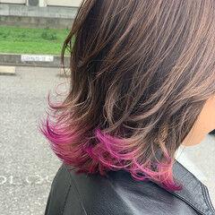 ピンク 裾カラー モード ミディアム ヘアスタイルや髪型の写真・画像