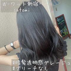 上品 セミロング 色気 暗髪 ヘアスタイルや髪型の写真・画像