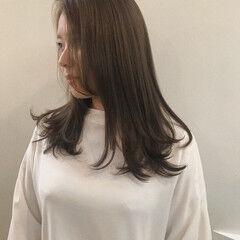 オーガニックアッシュ オーガニックカラー セミロング 透明感カラー ヘアスタイルや髪型の写真・画像