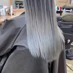 ツヤ髪 ホワイトハイライト コントラストハイライト コンサバ ヘアスタイルや髪型の写真・画像