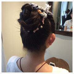 お団子 お祭り パールアクセ ロング ヘアスタイルや髪型の写真・画像