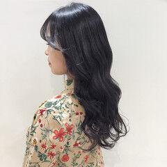 グレー 暗髪 ラベンダー フェミニン ヘアスタイルや髪型の写真・画像