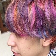 ショート 派手髪 ユニコーンカラー レインボー ヘアスタイルや髪型の写真・画像