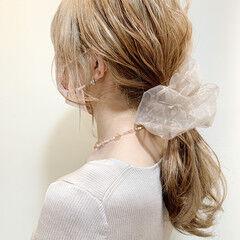 ローポニー ヘアセット 簡単ヘアアレンジ ミディアム ヘアスタイルや髪型の写真・画像