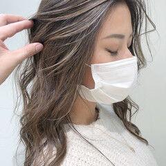 ロング コントラストハイライト 3Dハイライト ハイライト ヘアスタイルや髪型の写真・画像