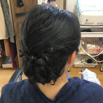 ヘアアレンジ フェミニン 結婚式 黒髪