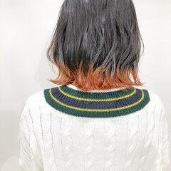 ショートボブ ボブ 裾カラー ショートヘア ヘアスタイルや髪型の写真・画像