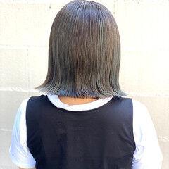 シンプルボブ ボブ 透明感カラー モード ヘアスタイルや髪型の写真・画像