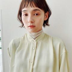 ナチュラル ミニボブ 前髪パッツン ショートヘア ヘアスタイルや髪型の写真・画像