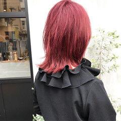 モード ピンク セミロング ラベンダーピンク ヘアスタイルや髪型の写真・画像