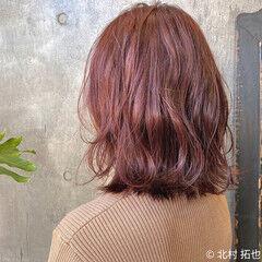 モテボブ ブリーチなし チェリーレッド 外ハネボブ ヘアスタイルや髪型の写真・画像