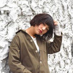 バーム 透明感 ストリート ボブ ヘアスタイルや髪型の写真・画像