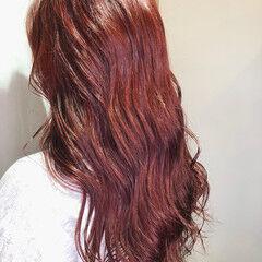 赤茶 ロング ブリーチカラー 赤髪 ヘアスタイルや髪型の写真・画像
