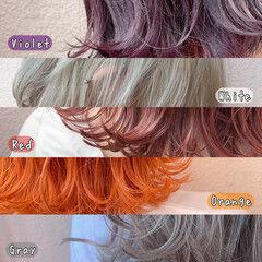 透明感カラー ピンクカラー インナーカラーホワイト インナーカラー ヘアスタイルや髪型の写真・画像