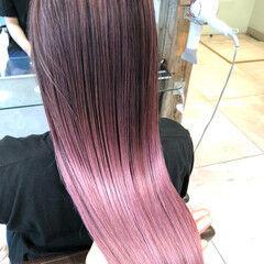 ハイライト ロング ピンクアッシュ ピンクパープル ヘアスタイルや髪型の写真・画像