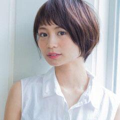 田中美保 小顔 ショートボブ ナチュラル ヘアスタイルや髪型の写真・画像
