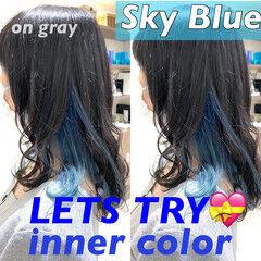 ネイビーアッシュ インナーブルー インナーカラーグレージュ インナーカラー ヘアスタイルや髪型の写真・画像