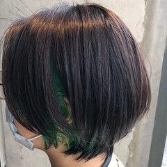 ショートボブ インナーカラー モード ショート ヘアスタイルや髪型の写真・画像