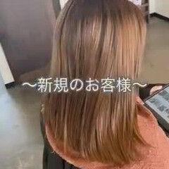 ナチュラル オレンジ セミロング 可愛い ヘアスタイルや髪型の写真・画像