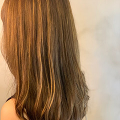 エレガント 極細ハイライト セミロング 大人ハイライト ヘアスタイルや髪型の写真・画像