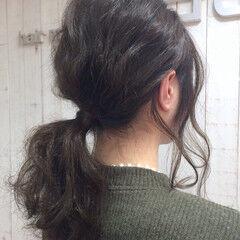 波ウェーブ セミロング ブルージュ 簡単ヘアアレンジ ヘアスタイルや髪型の写真・画像