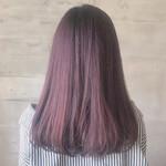 セミロング 赤髪 ピンクバイオレット ワンカールスタイリング