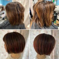 コンサバ 3Dカラー ショートボブ ショートヘア ヘアスタイルや髪型の写真・画像