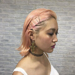 切りっぱなし モード ピンク ヘアピン ヘアスタイルや髪型の写真・画像