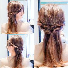 フェミニン ロング 簡単ヘアアレンジ 時短ヘア ヘアスタイルや髪型の写真・画像