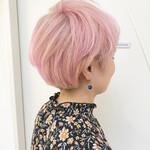 ハイトーンカラー ショートボブ ダブルカラー ピンク