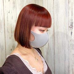 暖色 フェミニン オレンジカラー トレンド ヘアスタイルや髪型の写真・画像