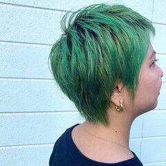 ハイトーンカラー デザインカラー ベリーショート ブリーチカラー ヘアスタイルや髪型の写真・画像