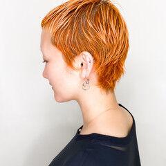 ハイトーンカラー デザインカラー 派手髪 オレンジカラー ヘアスタイルや髪型の写真・画像