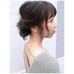春ヘア ミディアム ヘアアレンジ ナチュラル ヘアスタイルや髪型の写真・画像