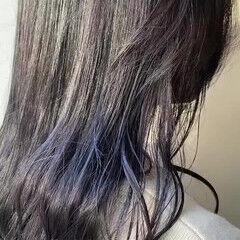 ダークグレー インナーカラーバイオレット モード ロング ヘアスタイルや髪型の写真・画像