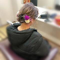 ミディアム ヘアセット アップ 成人式ヘア ヘアスタイルや髪型の写真・画像