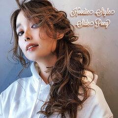 デートヘア ヘアアレンジ ロング ポニーテールアレンジ ヘアスタイルや髪型の写真・画像