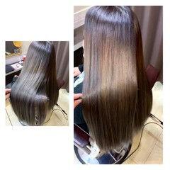 ロング 縮毛矯正 美髪 ナチュラル ヘアスタイルや髪型の写真・画像
