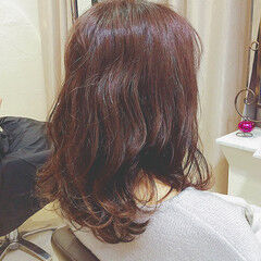 ガーリー ミディアム ピンク ゆるふわ ヘアスタイルや髪型の写真・画像