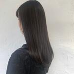 ロング コンサバ 黒髪 ネイビーカラー