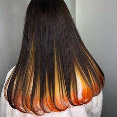 インナーカラー オレンジ ユニコーンカラー ロング ヘアスタイルや髪型の写真・画像