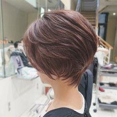 ハイライト ピンクアッシュ 流し前髪 ショートボブ ヘアスタイルや髪型の写真・画像