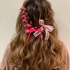ボブ ふわふわヘアアレンジ ハーフアップ イベント ヘアスタイルや髪型の写真・画像