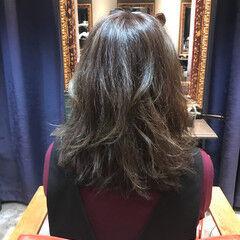 フレンチセピアアッシュ セミロング 秋 大人女子 ヘアスタイルや髪型の写真・画像