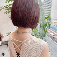 モード ピンクラベンダー ボブ 韓国ヘア ヘアスタイルや髪型の写真・画像