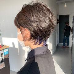 グレージュ インナーカラー ガーリー ブルーラベンダー ヘアスタイルや髪型の写真・画像