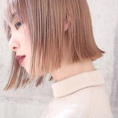 ラベンダーピンク コリアンピンク ボブ ショートボブ ヘアスタイルや髪型の写真・画像