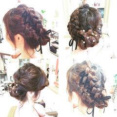 編み込み ヘアピン ヘアアレンジ ロング ヘアスタイルや髪型の写真・画像