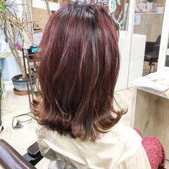 ナチュラル 切りっぱなしボブ ボブ 赤髪 ヘアスタイルや髪型の写真・画像