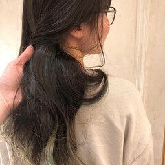モード インナーグリーン デザインカラー インナーカラー ヘアスタイルや髪型の写真・画像